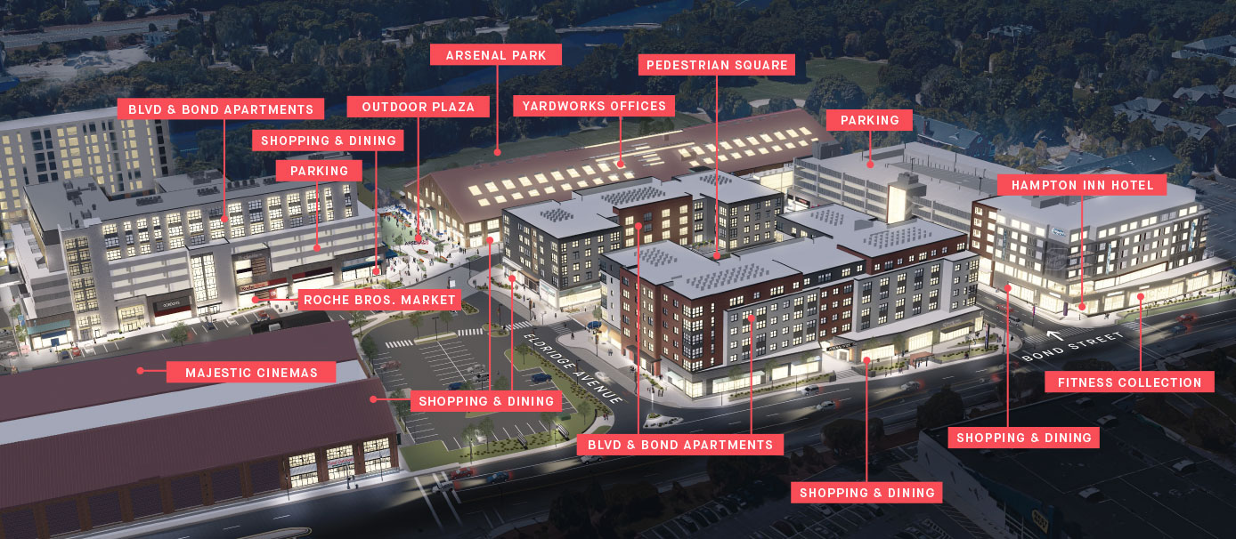 An aerial rendering of Arsenal Yards at night showing the completed development as it will look in 2020