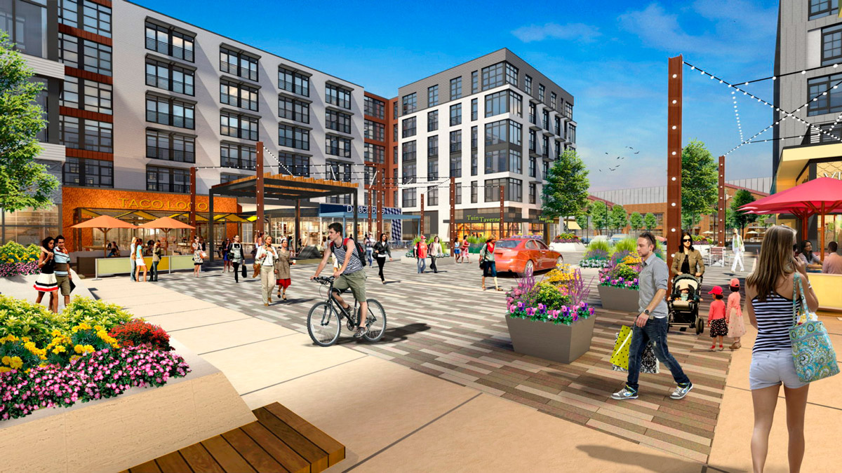 Rendering of Bond Square at Arsenal Yards