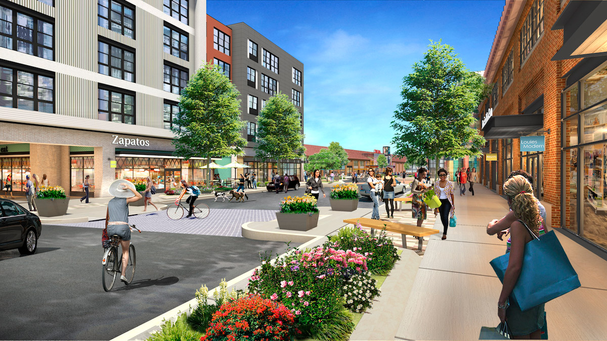 Rendering of retail spaces along Arsenal Yards Boulevard