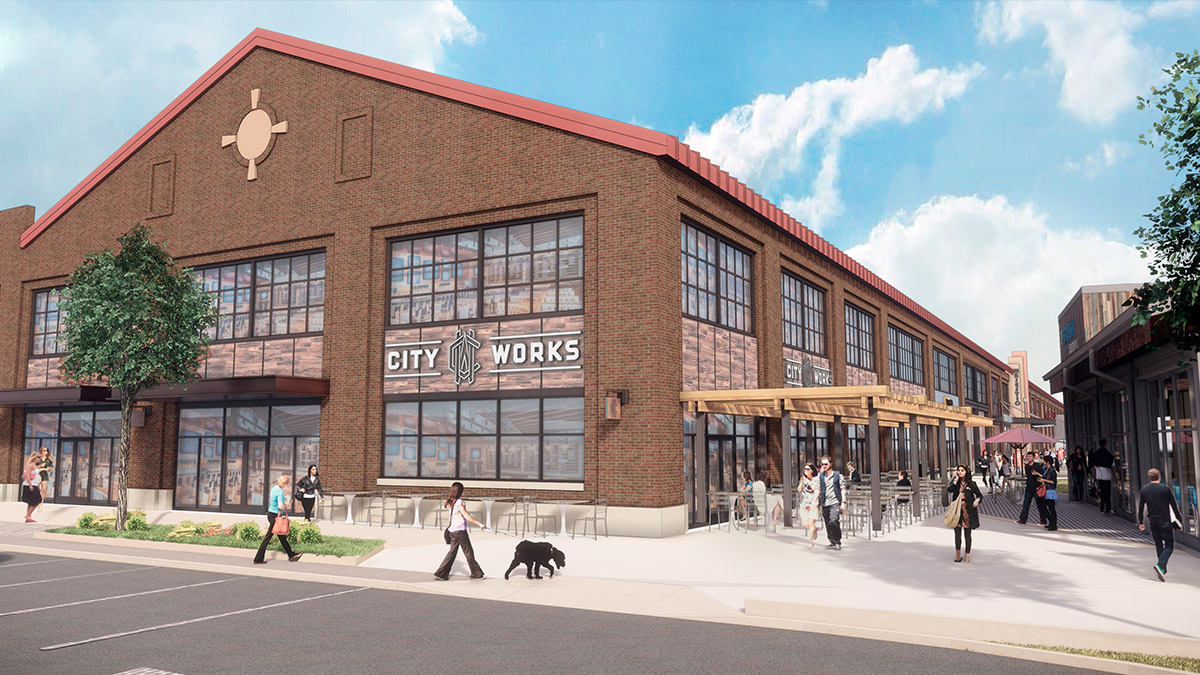Rendering of City Works restaurant at Arsenal Yards