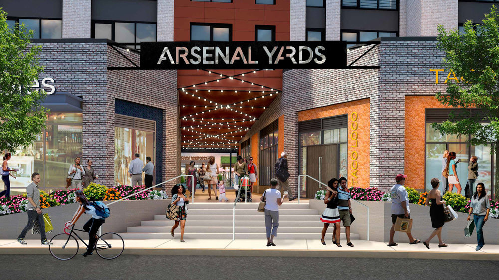 Rendering of the entrance to Arsenal Yards from Arsenal Street