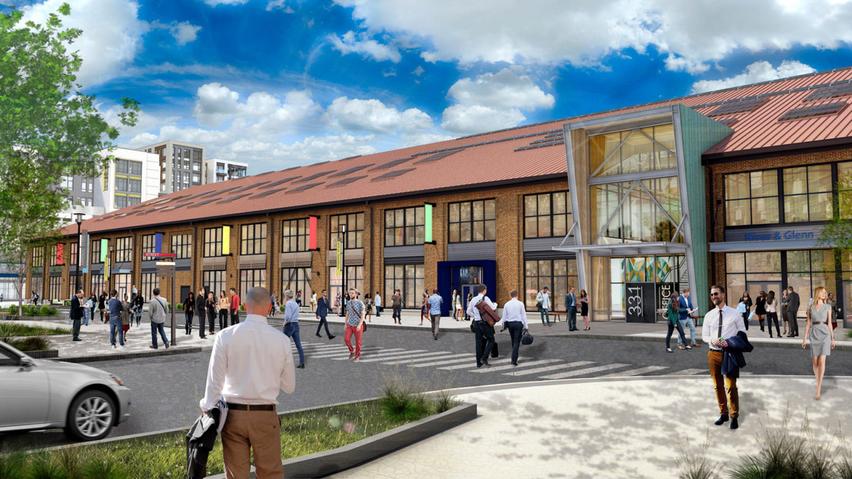 Rendering of the renovated arsenal building at Arsenal Yards