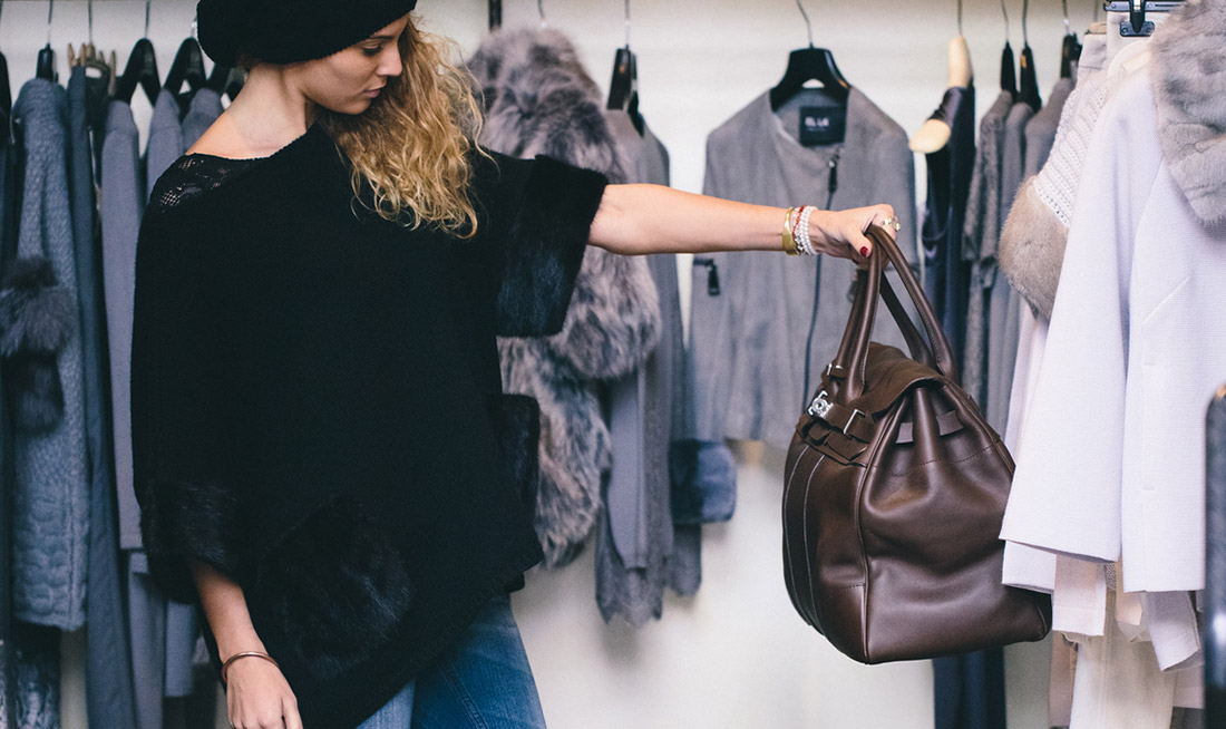 Woman shopping at a clothing store
