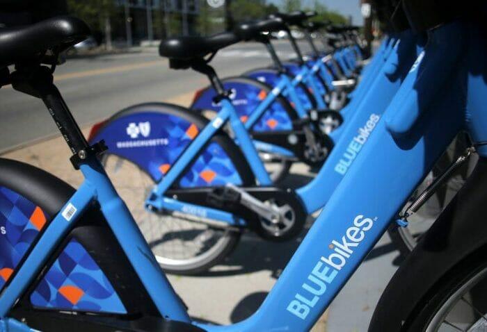 Bikes docked at a BlueBikes hub