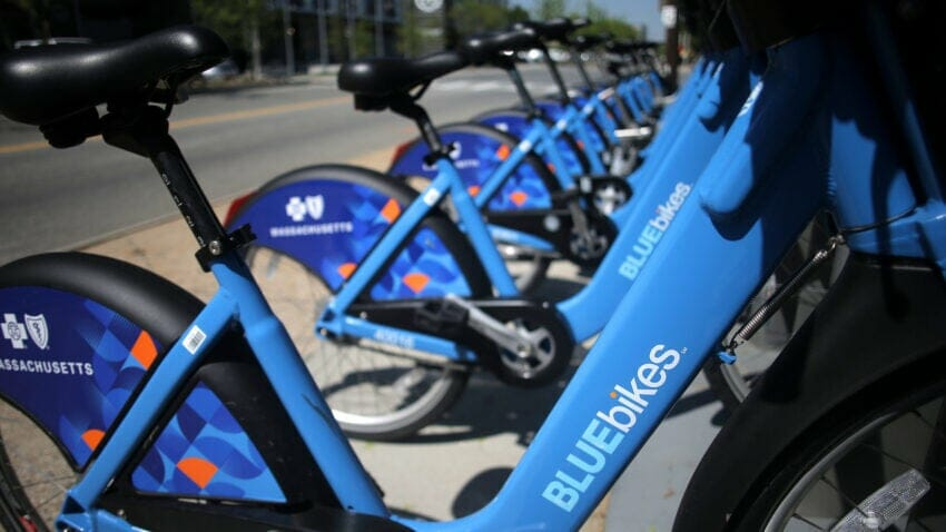 Bikes docked at a BlueBikes hub