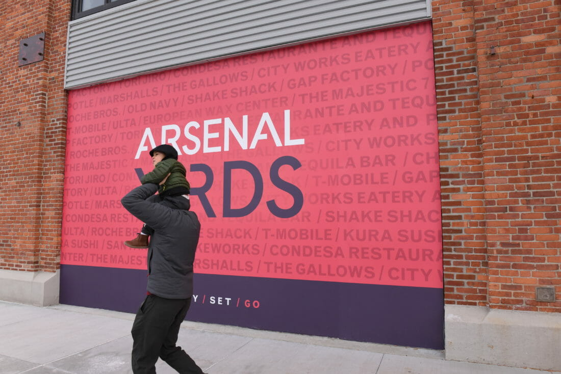Arsenal Yards graphic on a garage door