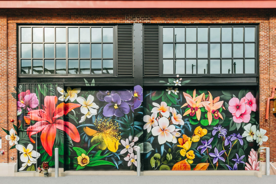 A mural of flowers at Arsenal Yards