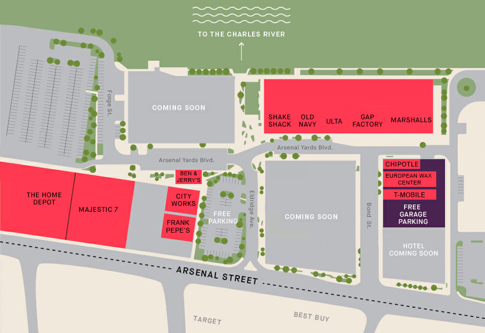 Illustrated site plan of Arsenal Yards