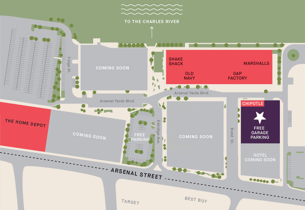 Arsenal Yards Current site plans howing current retailers and free parking