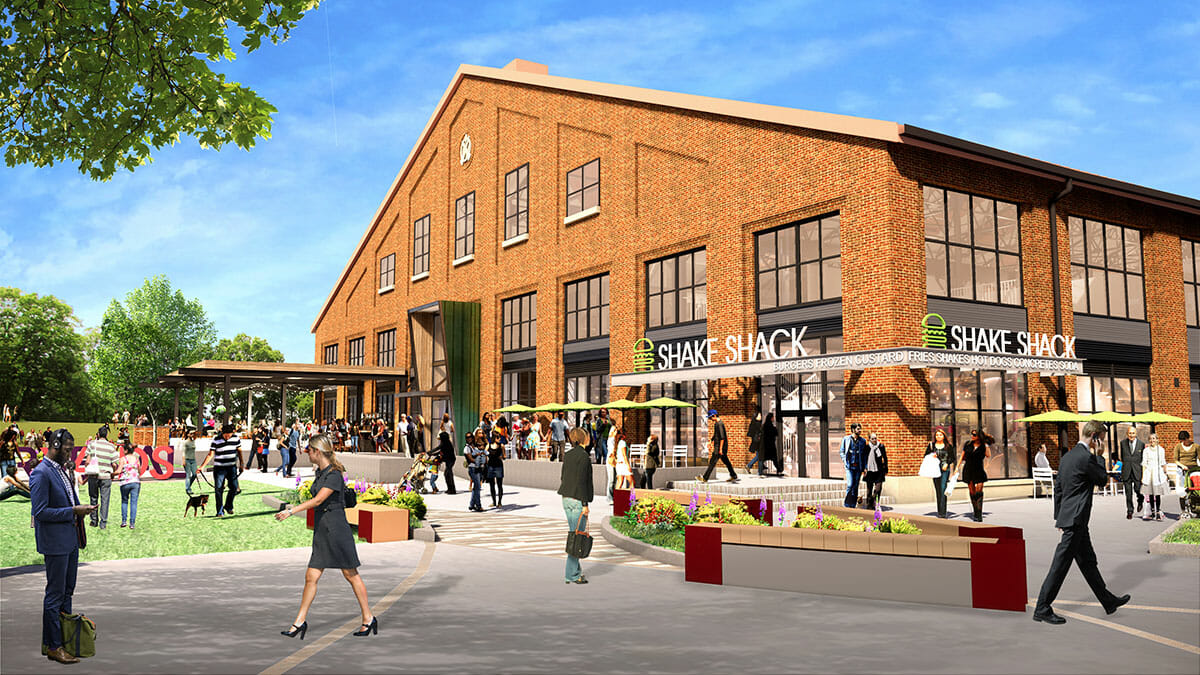 Rendering of river green and Shake Shack at Arsenal Yards