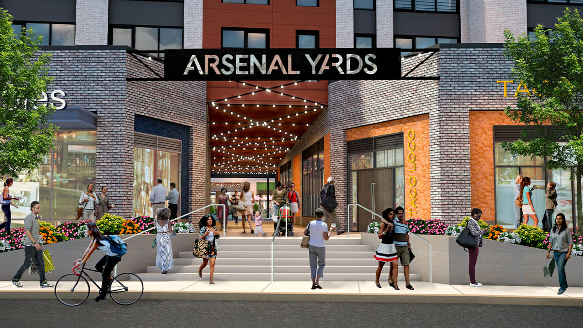 Rendering of the entrance to Arsenal Yards