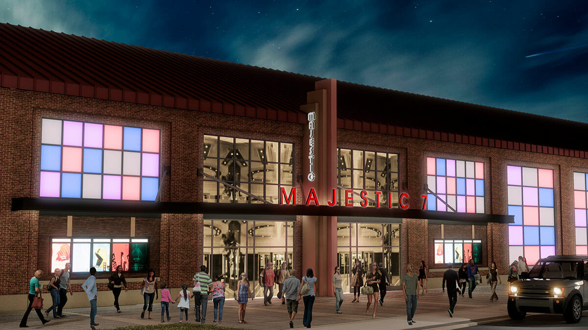 Rendering of the Majestic 7 Cinemas entrance
