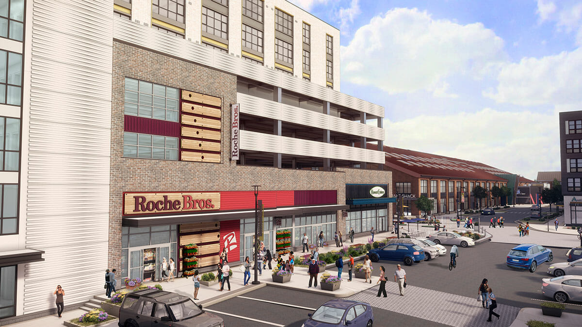 Rendering of Roche Bros. grocery store in Arsenal Yards